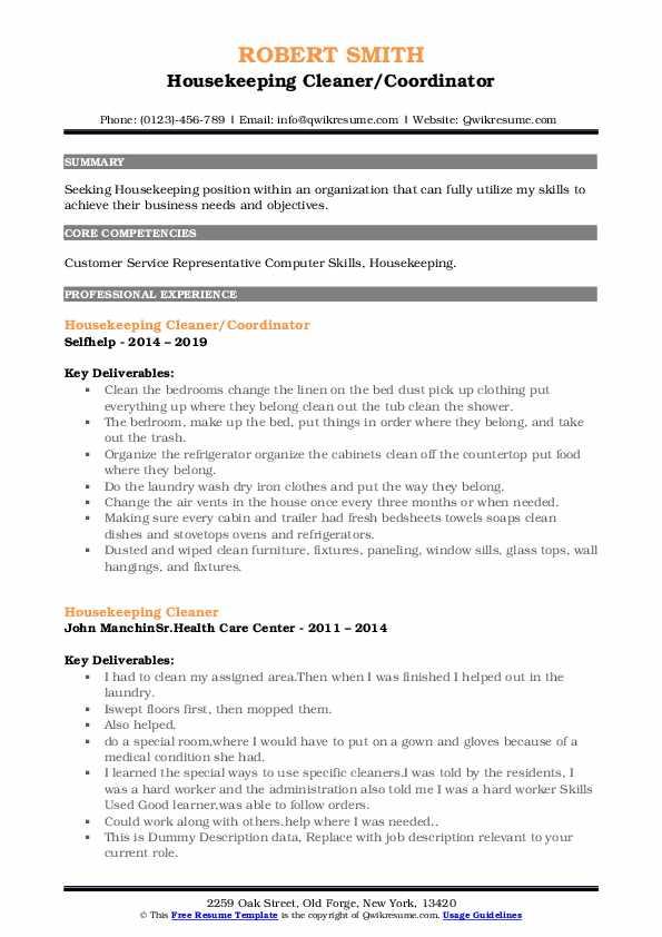 Housekeeping Cleaner/Coordinator Resume Model