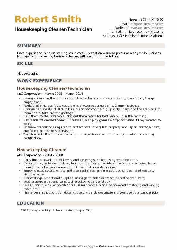 Housekeeping Cleaner/Technician Resume Sample