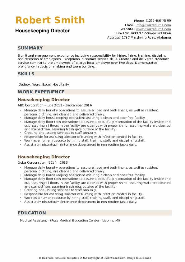 Housekeeping Director Resume example