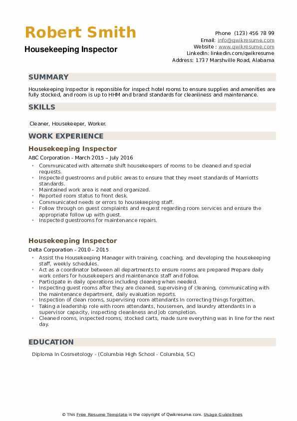 Housekeeping Inspector Resume example