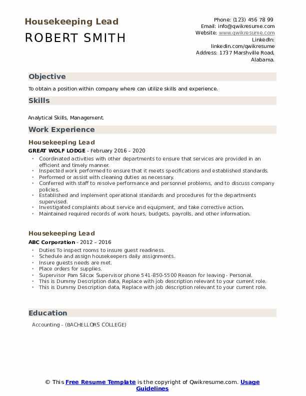 Housekeeping Lead Resume example