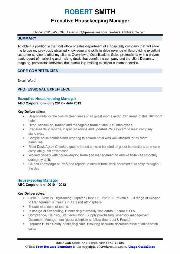 Executive Housekeeping Manager Resume Template
