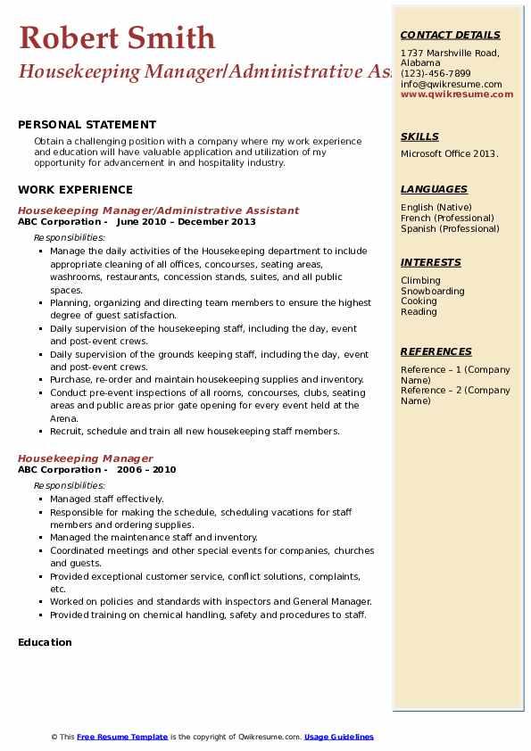 Housekeeping Manager Resume Samples | QwikResume