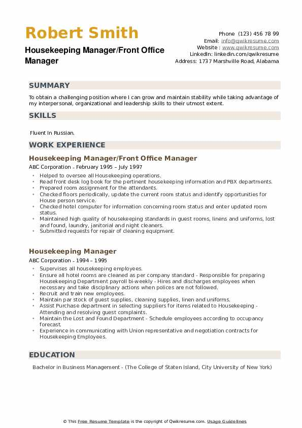 Housekeeping Manager/Front Office Manager Resume Format