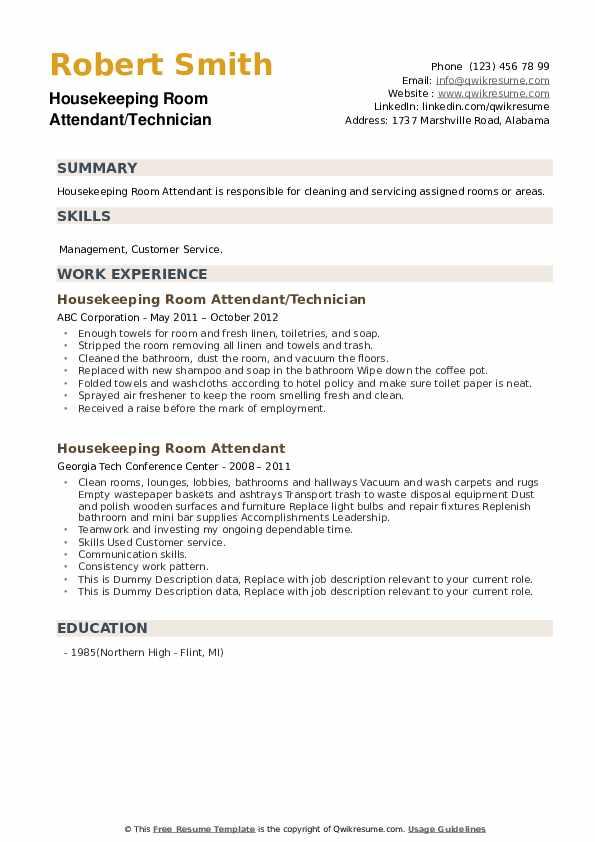 housekeeping room attendant resume samples  qwikresume