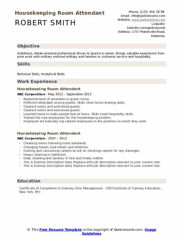 Housekeeping room attendant resume english writer for hire