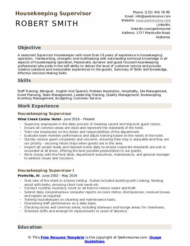 Housekeeping Supervisor Resume Samples | QwikResume