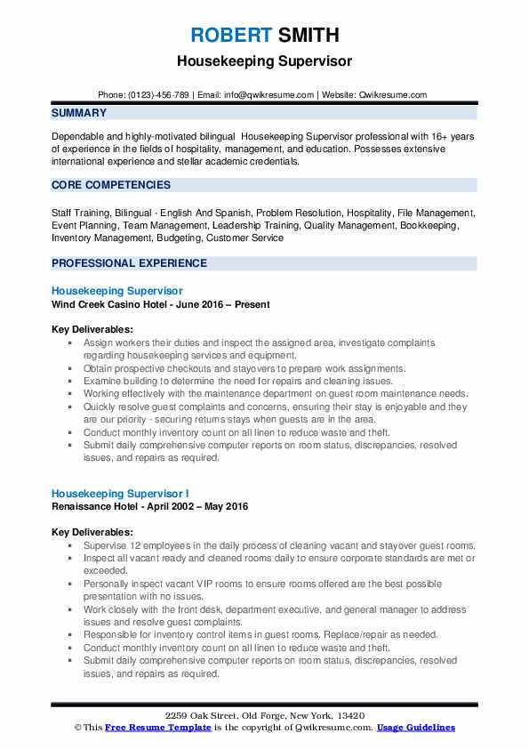 Housekeeping Supervisor Resume Samples Qwikresume