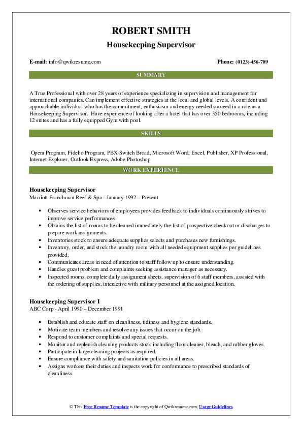 Housekeeping Supervisor Resume Sample