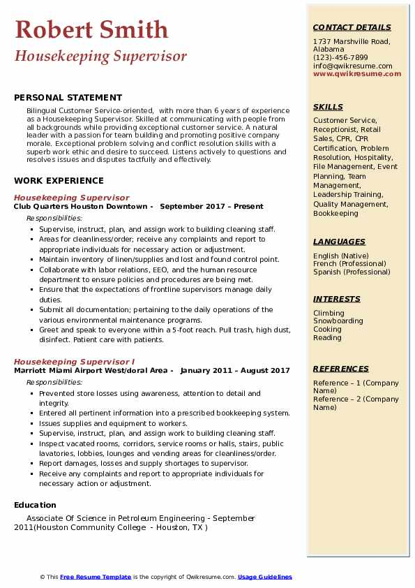 housekeeping supervisor resume samples