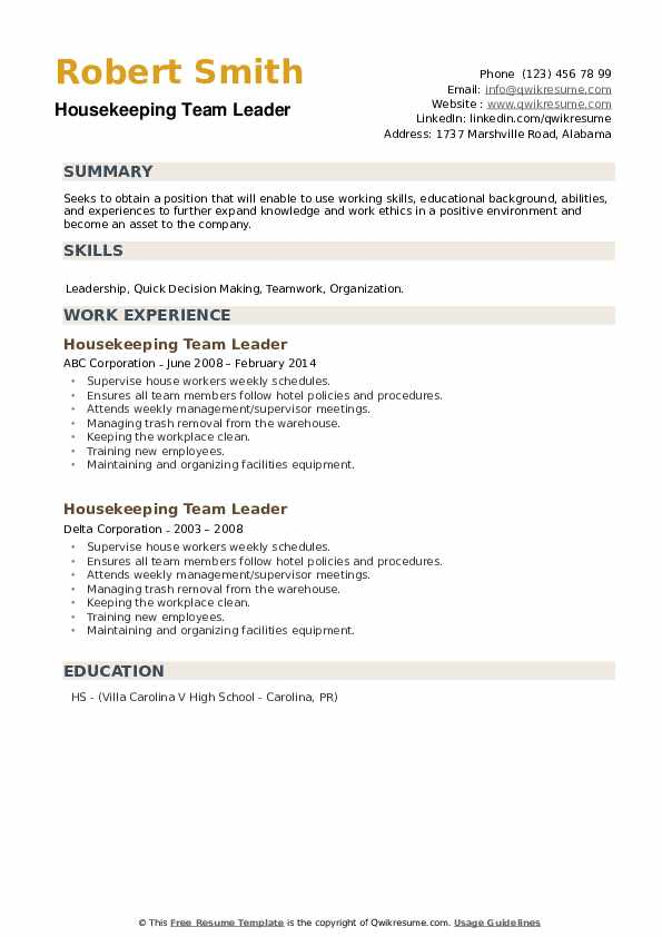 Housekeeping Team Leader Resume example