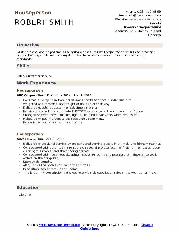 Houseperson Resume example