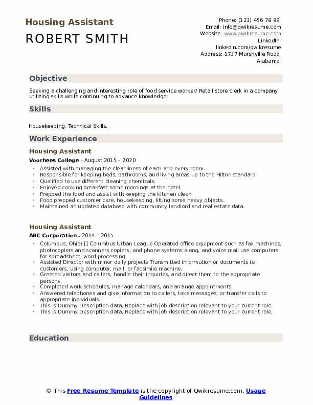 Housing Assistant Resume example