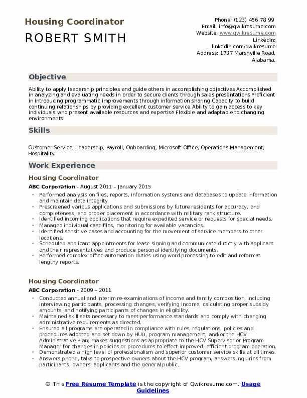Housing Coordinator Resume Format