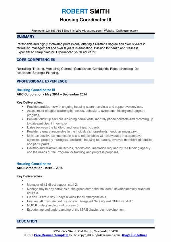 Housing Coordinator III Resume Template