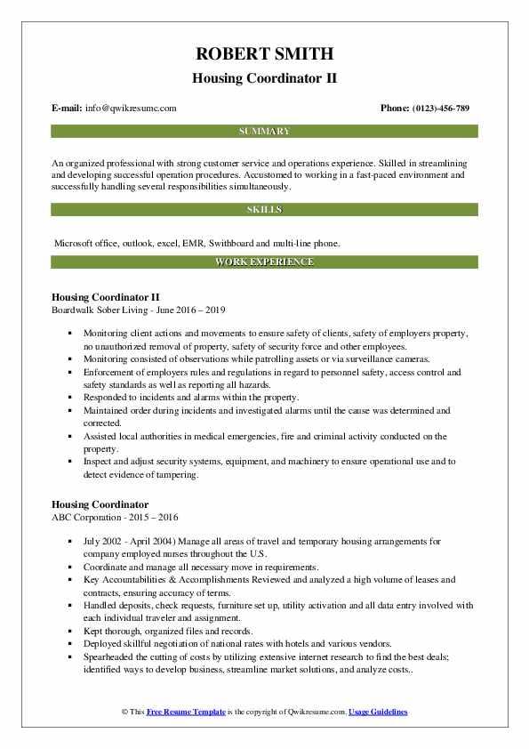 Housing Coordinator II Resume Format