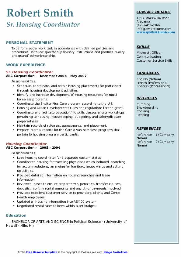 Sr. Housing Coordinator Resume Sample