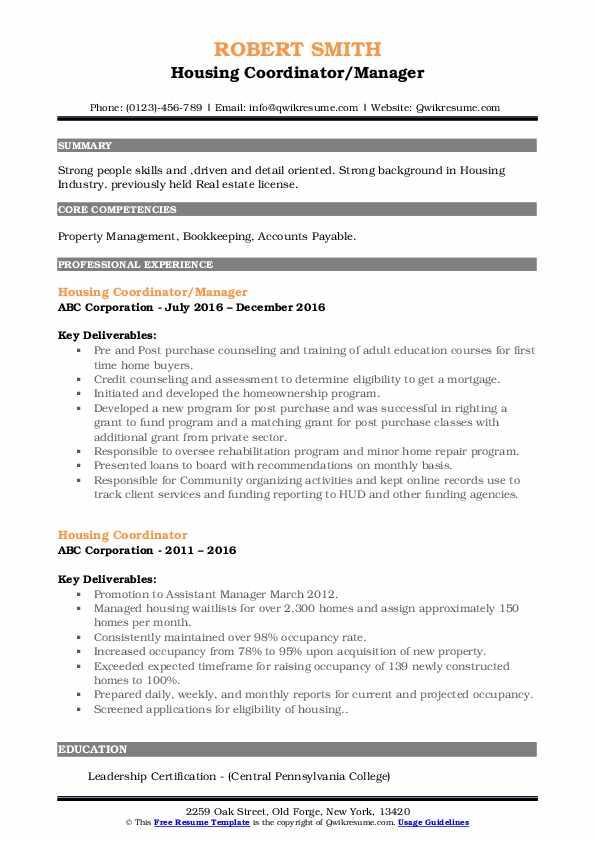 Housing Coordinator/Manager Resume Sample