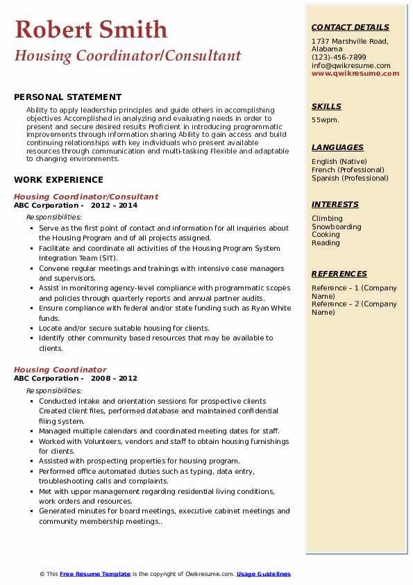 Housing Coordinator/Consultant Resume Model