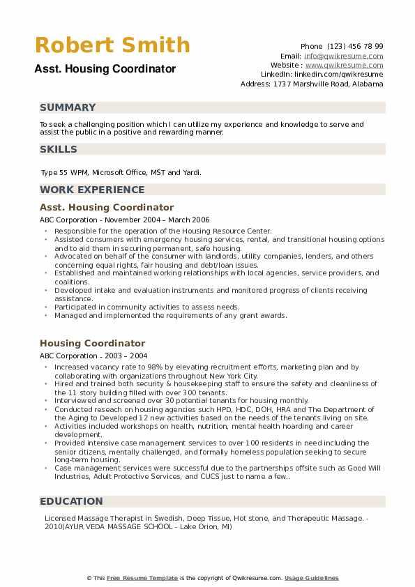 Asst. Housing Coordinator Resume Sample