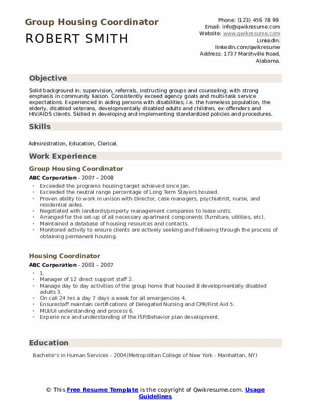 Group Housing Coordinator Resume Template