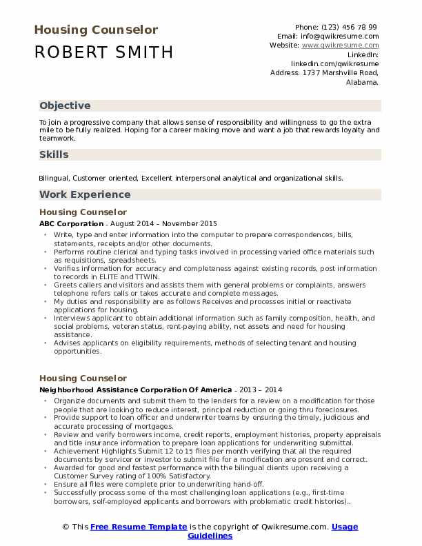 Housing Counselor Resume Format