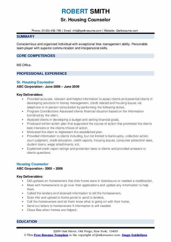 Sr. Housing Counselor Resume Format