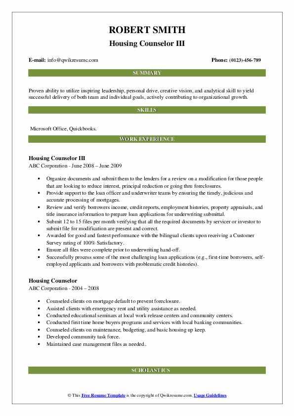 Housing Counselor III Resume Example