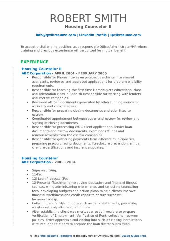 Housing Counselor II Resume Format