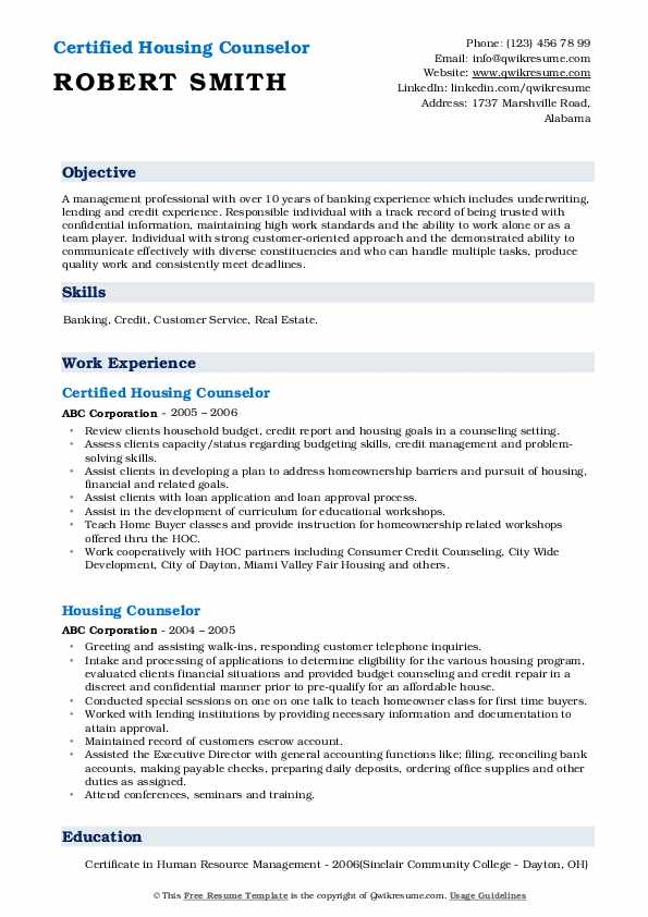 Certified Housing Counselor  Resume Example