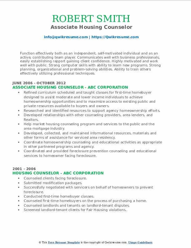 Associate Housing Counselor Resume Model