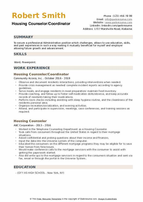 Housing Counselor/Coordinator Resume Template