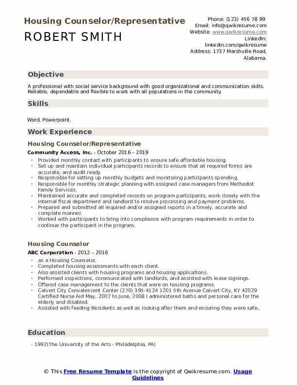 Housing Counselor/Representative Resume Sample
