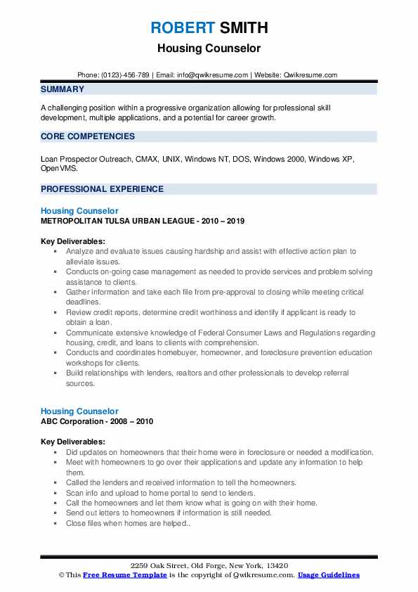 Housing Counselor Resume example