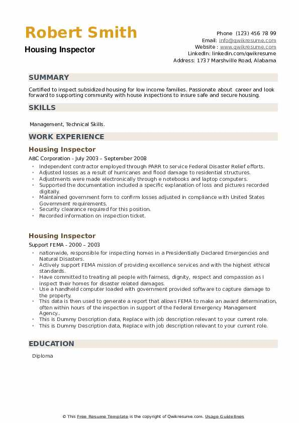 Housing Inspector Resume example