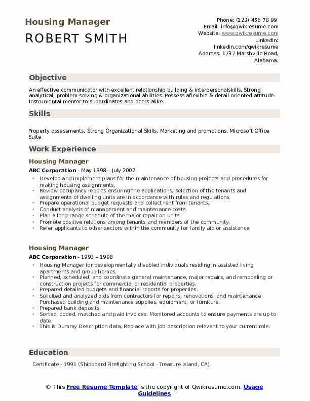 Housing Manager Resume example