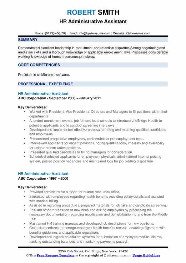hr administrative assistant resume samples  qwikresume