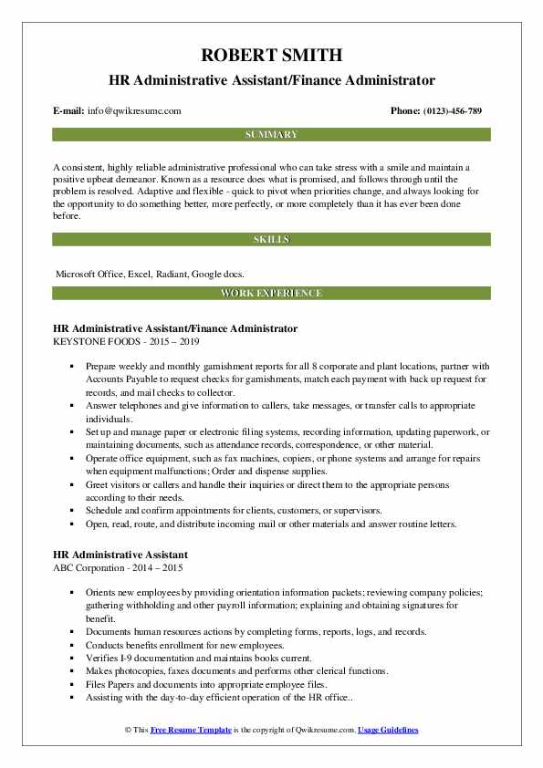 HR Administrative Assistant/Finance Administrator Resume Example