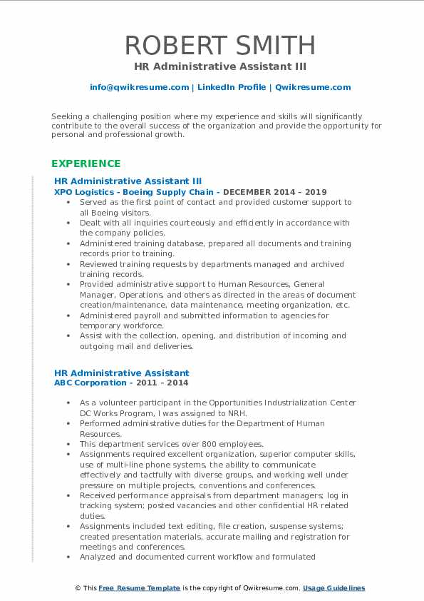 HR Administrative Assistant III Resume Example