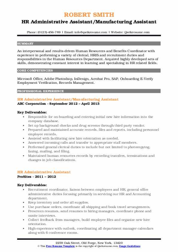 Hr Administrative Assistant Resume Samples Qwikresume