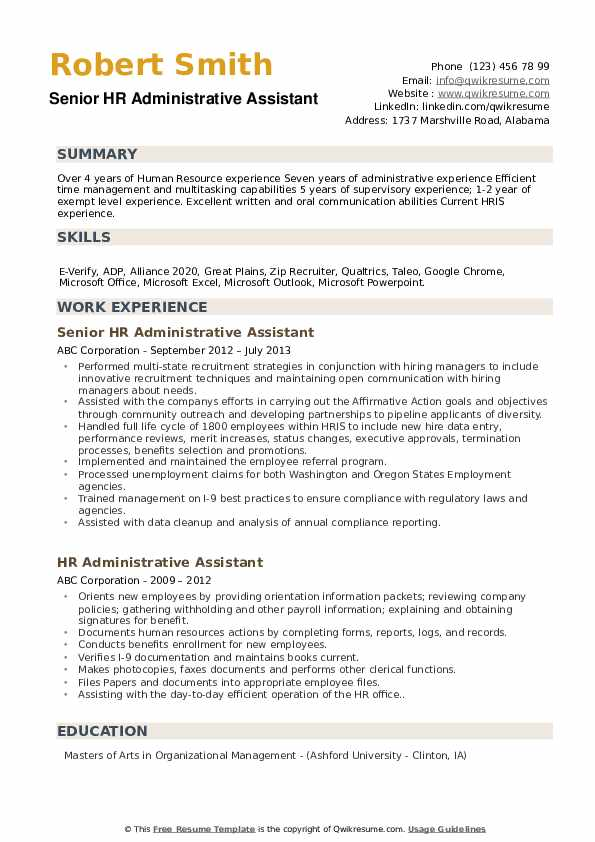 Senior HR Administrative Assistant Resume Example