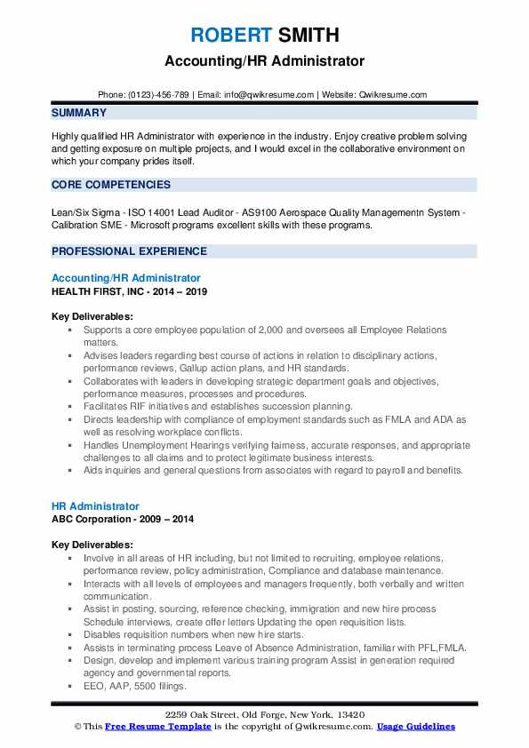 Accounting/HR Administrator Resume Model