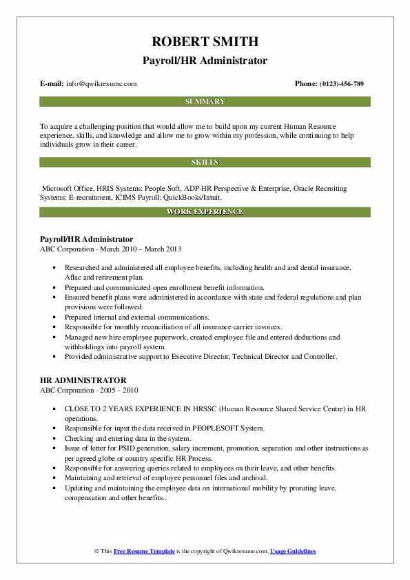 Payroll/HR Administrator Resume Format
