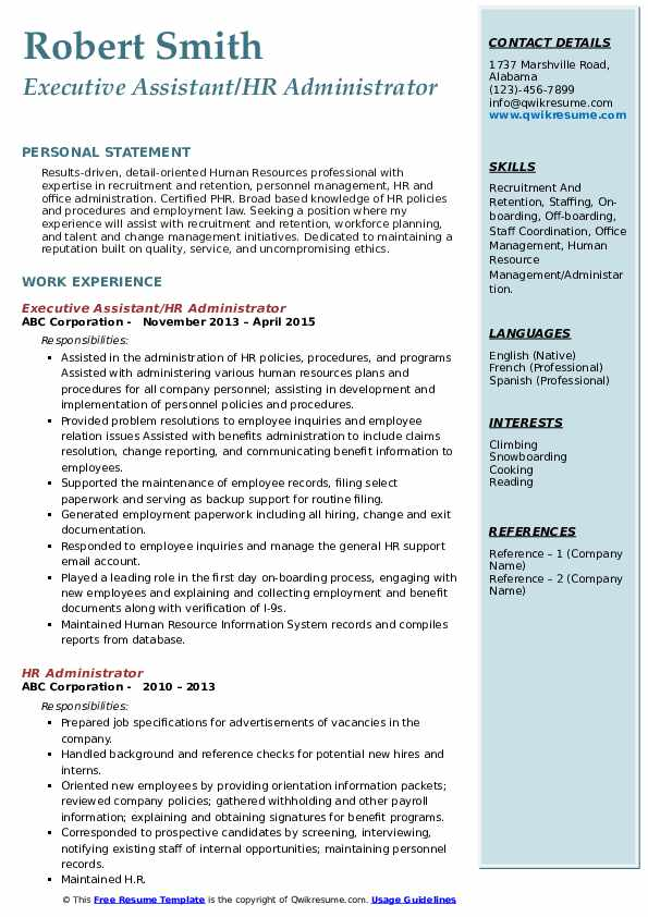 Executive Assistant/HR Administrator Resume Example