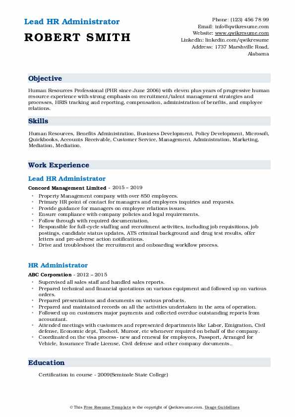 Lead HR Administrator Resume Template