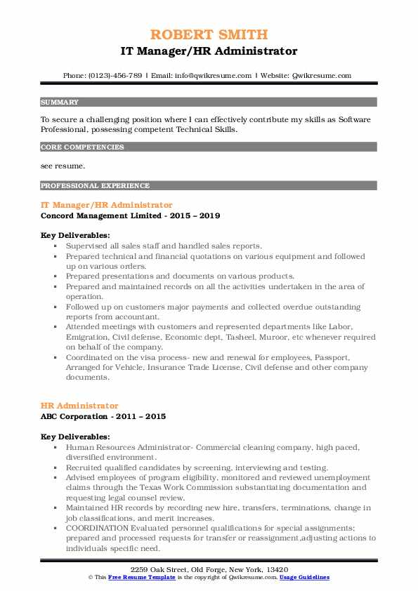 IT Manager/HR Administrator Resume Sample