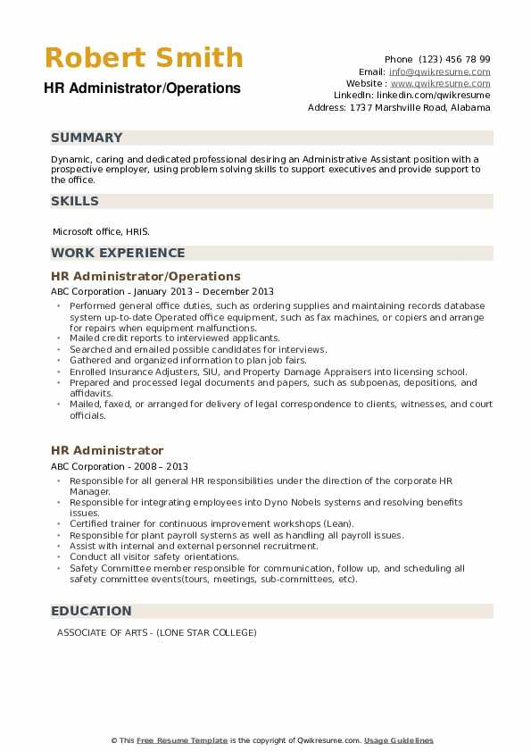 HR Administrator/Operations Resume Format