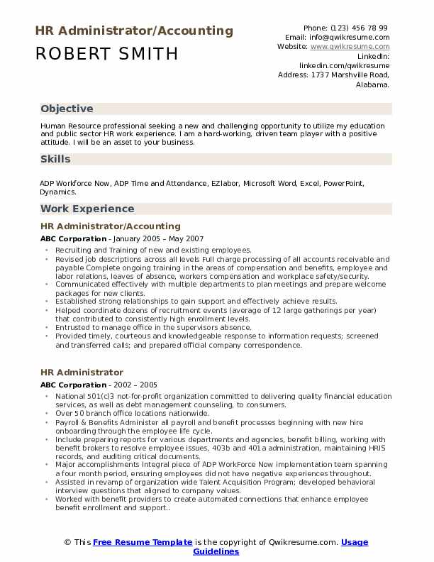 HR Administrator/Accounting Resume Model