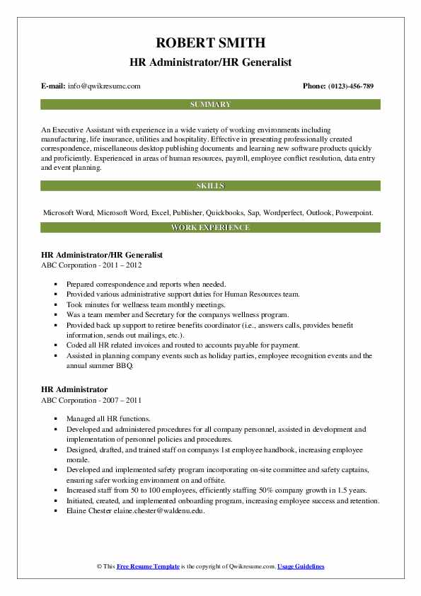 Hr Administrator Resume Samples Qwikresume
