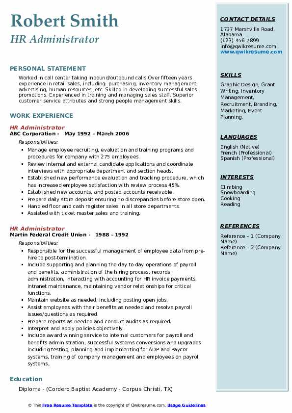 hr administrator resume samples